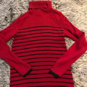 Red and Black Stripped Turtleneck